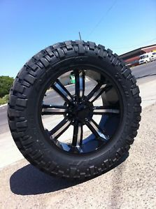 "22"" Black Rims Tires Ford Excursion F250 37 13 50 22 Nitto Trail Grappler"
