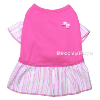 922 XS L Pink Striped Cotton Skirt Dress Dog Clothes