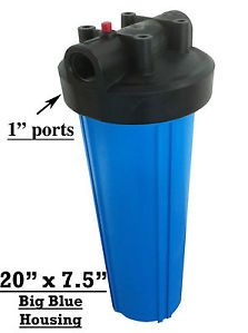 "Water Filter Housing 20"" Jumbo Big Blue 1"" Ports Well Water Pond Koi Aquarium"