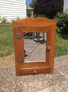Antique Primitive Wooden Medicine Cabinet with Glass Mirror Two Shelves