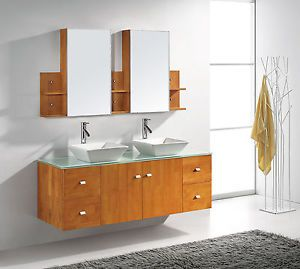 "61"" Honey Oak Modern Double Sink Bathroom Vanity Medicine Cabinet Mirror Faucets"