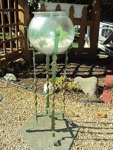 Vintage Antique Art Deco Fish Bowl Stand Aquarium