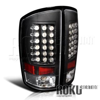 02 06 Dodge RAM 1500 2500 Black LED Tail Lights Lamps