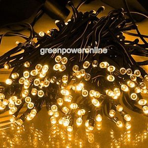 Solar Power 200 LED Fairy Yellow Color Light String Party Outdoor Garden Decor