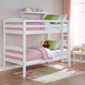 New Kids Twin Over Twin Solid Wood Bunk Bed Convertable to 2 Beds White