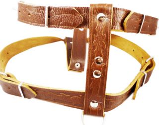 "Brown Leather Dog Walking Harness Large XLarge 27"" 37"""