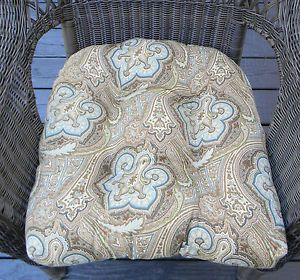 Indoor Outdoor Wicker Seat Chair Cushion Brown Tan and Spa Teal Paisley