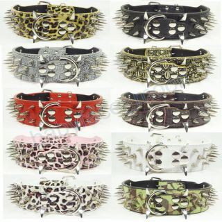 Gator Leather Spiked Pet Dog Collars Large Dog Pitbull Mastiff Terrier s M L XL
