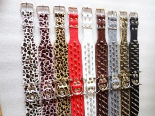 Gold Leopard Leather Spiked Horn Dog Collars Large Dogs Pitbull Mastiff Terrier