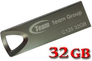 Team C125 32GB 32G Memory USB Flash Pen Thumb Drive Stick Metal Chain Ultra Slim