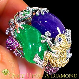 32 35 CTW Emerald Green Lavender Jade Diamond Gemstone Frog Ring 18K Gold