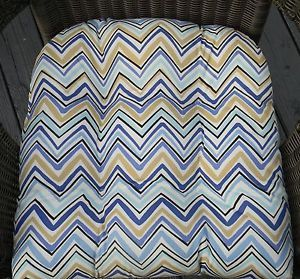 Wicker Indoor Outdoor Seat Chair Cushion Blue Tan Black Zig Zag Chevron Print