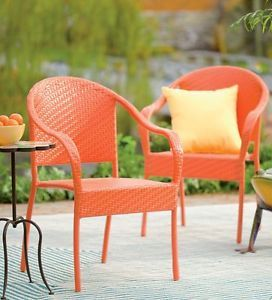 2 PC Piece Set Outdoor Stackable Wicker Resin Chairs Patio Garden Furniture New