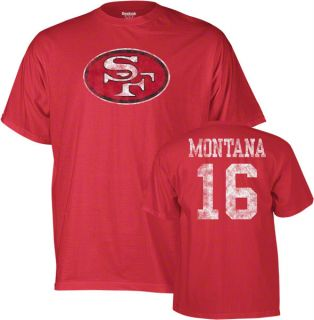 Joe Montana San Francisco 49ers Red Vintage Name Number Tee