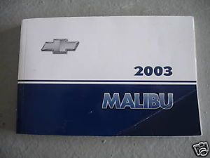 2003 Chevy Malibu Owners Manual Guide Books Literature