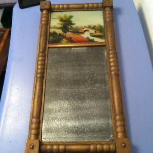 Antique Empire Reverse Painted Early American Furniture Mirror