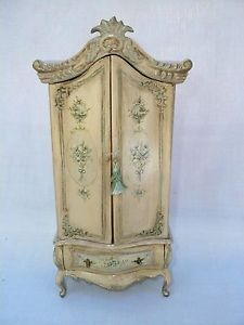 "8"" Miniature Wood Hand Painted French Colonial Armoire Doll House Furniture"