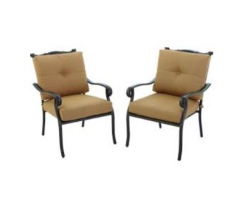 Hampton Bay Westbury Patio Deep Seating Lounge Chairs Tan Cushions 2 Pack