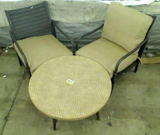 Hampton Bay Madison 3 Piece Patio Chat Set with Textured Golden Wheat Cushions