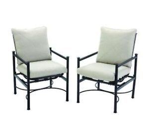 Hampton Bay Barnsley Patio Motion Dining Chairs Textured Silverpebble Cushions