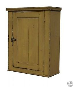 Primitive Country Painted Wall Cabinet Early American Cupboard Rustic Furniture
