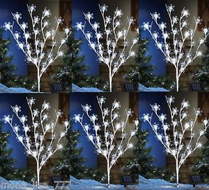 "New s 6 Solar Snowflake 40""H Tree Outdoor Lights Christmas Lawn Ornament Holiday"