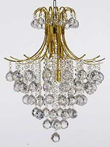 French Empire Crystal Ball Chandelier Lighting Fixture Pendant Ceiling Lamp Gold