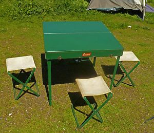 Vintage 1955 Coleman 640 Folding Picnic Table 4 Chairs Retro Camping 28x14x6