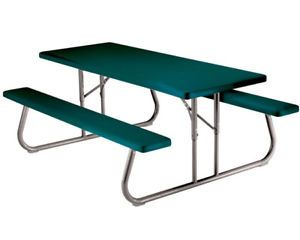 10 Pack Lifetime 6 Foot Green Plastic Folding Picnic Tables 2123