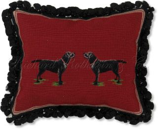 Black Labrador Decorative Dog Needlepoint Throw Pillow