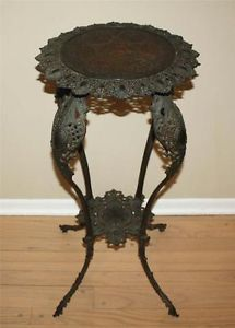 Vintage Antique Cast Iron Brass Bradley Hubbard Plant or Lamp Stand Table