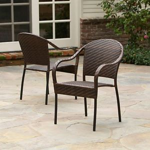 Set of 2 Outdoor Patio Furniture All Weather PE Wicker Stackable Arm Chairs