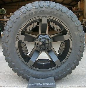 "24x12 KMC XD Rockstar 2 Black Toyo Open Country 40 15 50R24 40"" Mud Tires"