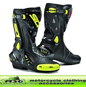 Sidi St Stealth Motorcycle Race Boots 43 9 Black Yellow Fluo New