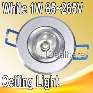 Pure White 1W 85 265V High Power 1 LED Cabinet Ceiling Light Down Recessed Lamp