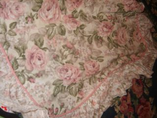 Shabby Cottage Chic Romantic Pink Roses Lace Ruffled Pillow Shams Set Pair Sweet
