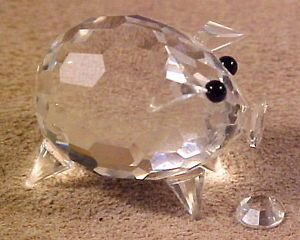 Swarovski Crystal Mini Pig Figurine Retired