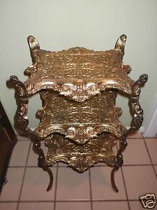 Vintage Angel Baroque Style Three Tier Cast Metal Accent Table Plant Stand