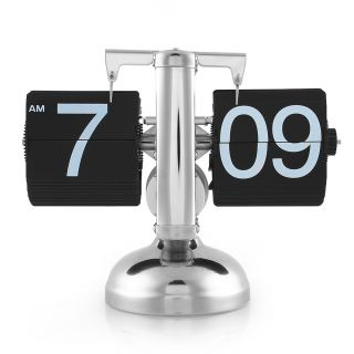 Retro Scale Digit Number Auto Flip Single Stand Metal Desk Table Clock Vintage
