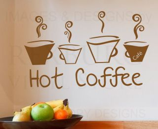 Wall Decal Sticker Quote Vinyl Art Lettering Decorative Hot Coffee Kitchen KI43