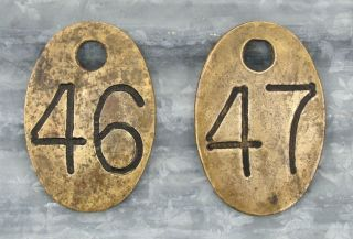 Vintage Brass Number Tags Cattle Livestock Cows Sign Antique Farm ID 46 47 Old