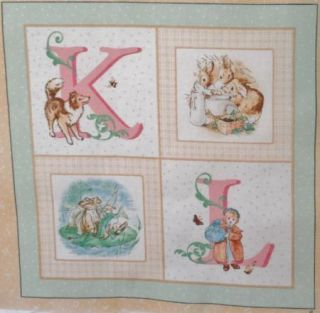 "Beatrix Potter Alphabet Soft Book 8"" Quilt Block Squares Baby Boy Girl Yellow"