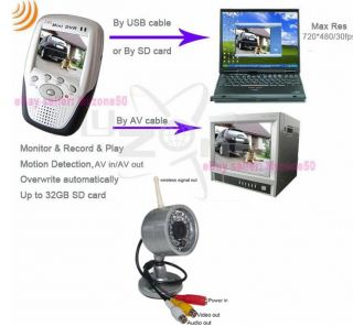 "Infrared 2 4G Wireless Wired Camera 2 5"" LCD DVR Motion Detection Recorder"