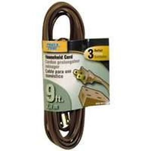 New 4432241 Lot of 5 Brown 16 2 x 9 Foot 3 Outlet Indoor Extension Drop Cord