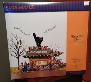 Department 56 Snow Village Halloween Black Cat Diner 55319 Retired Figurines Box