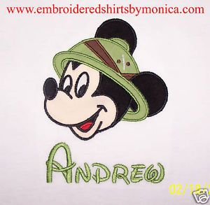 Custom Safari Mickey Mouse Hat Disney T Shirt Applique
