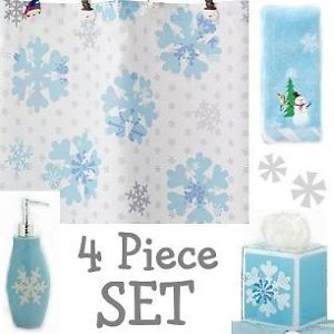 Snowflakes White Blue 4pc Set Shower Curtain Accessories Christmas New