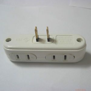 One Port US AC Power Splitter to 4 Port Power Socket Outlet Receptacle Adapter