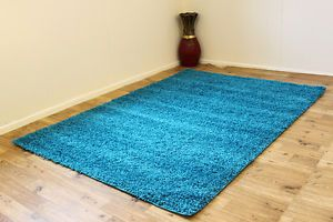 Extra Large Large Medium Small 5cm Thick Turquoise High Pile Shaggy Carpet Rugs
