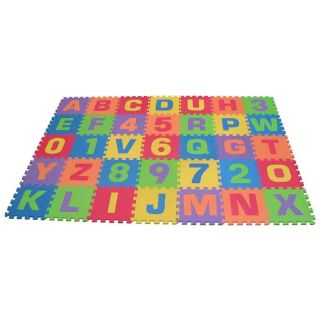 ABC Alphabet Number Fun Kids Foam Squares Floor Puzzle Play Learning Mat Child